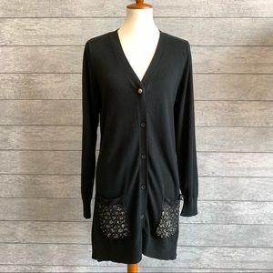 LOGO Lavish Black Lace Embellished Cardigan Sz 1X